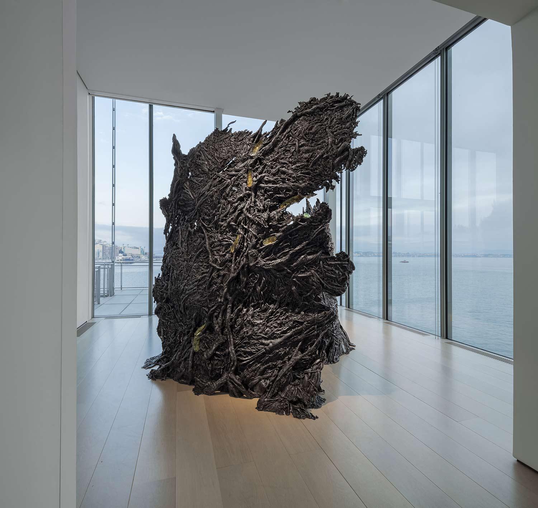 Sculpture GROWTH I, aluminum and glass, Cristina Iglesias, cast in Alfa Arte. Exhibition ENTREESPACIOS, Botín Center - Santander