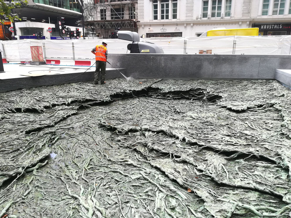 Cristina Iglesias, project ARROYOS OLVIDADOS - FORGOTTEN STREAMS. Bronze. Made in Alfa Arte. Assembly phase at Bloomberg Place, London