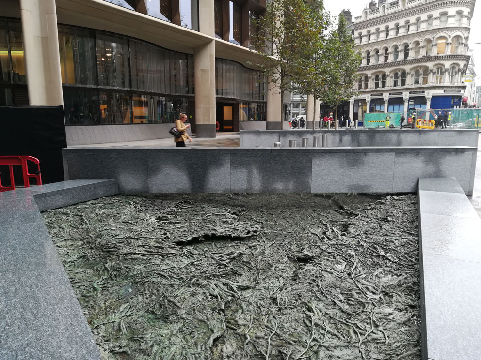 Cristina Iglesias, project ARROYOS OLVIDADOS - FORGOTTEN STREAMS. Bronze. Made in Alfa Arte. Sculpture installed on Bloomberg Place, London