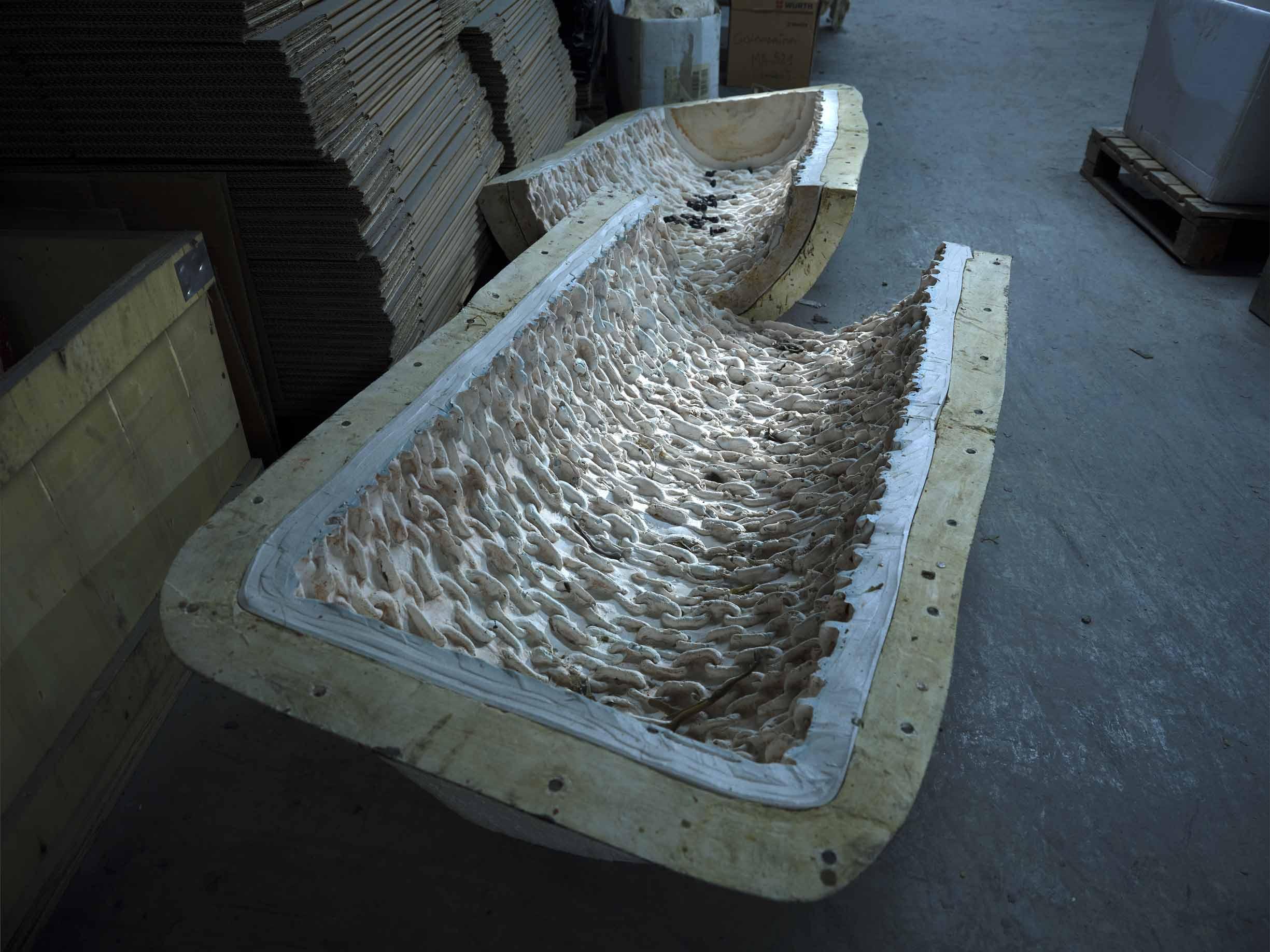 Molde para la escultura Matriz 2019 del escultor Asier Mendizabal, producido en Alfa Arte.