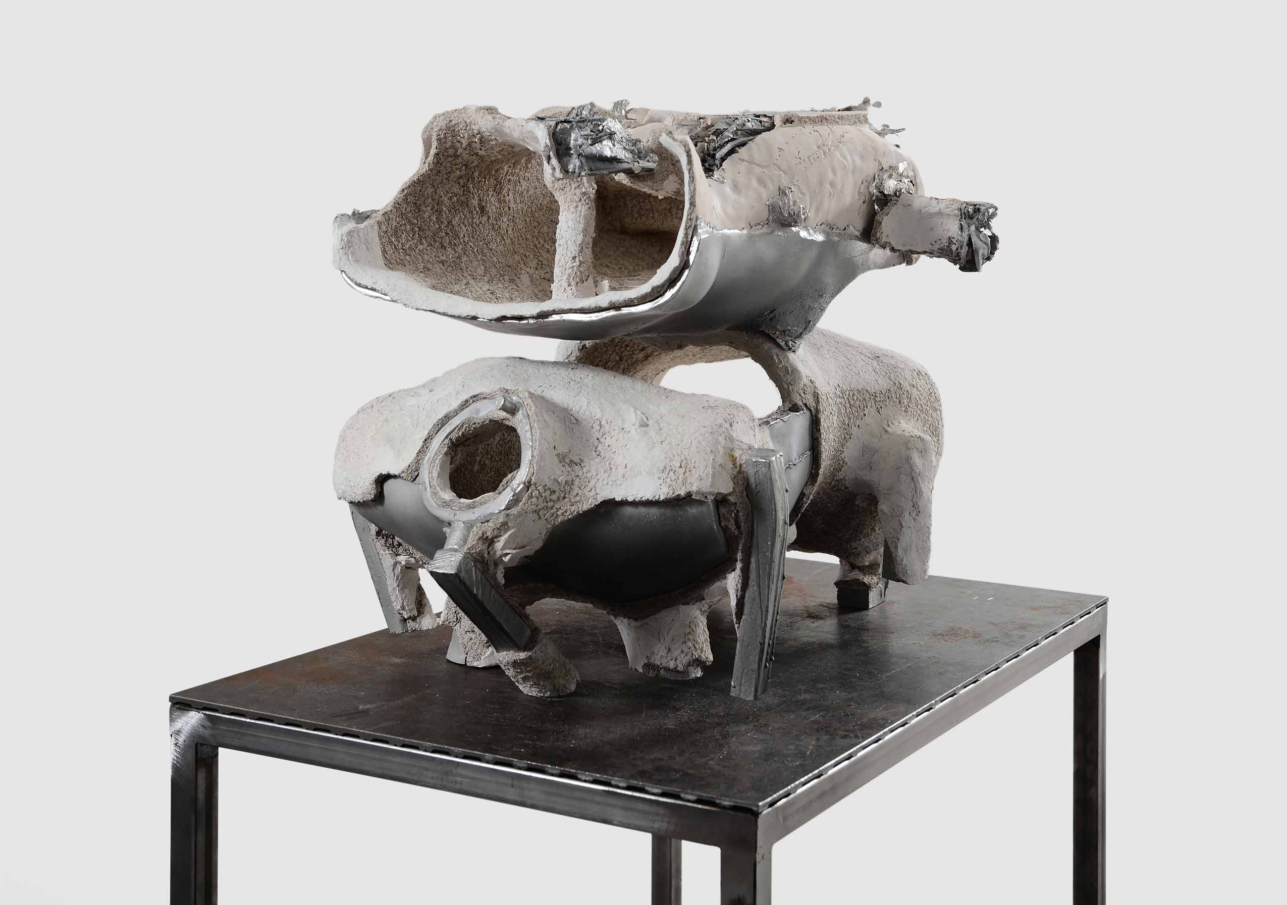 HELMETS, sculptural project by June Crespo. Cast aluminum, ceramics and metal construction