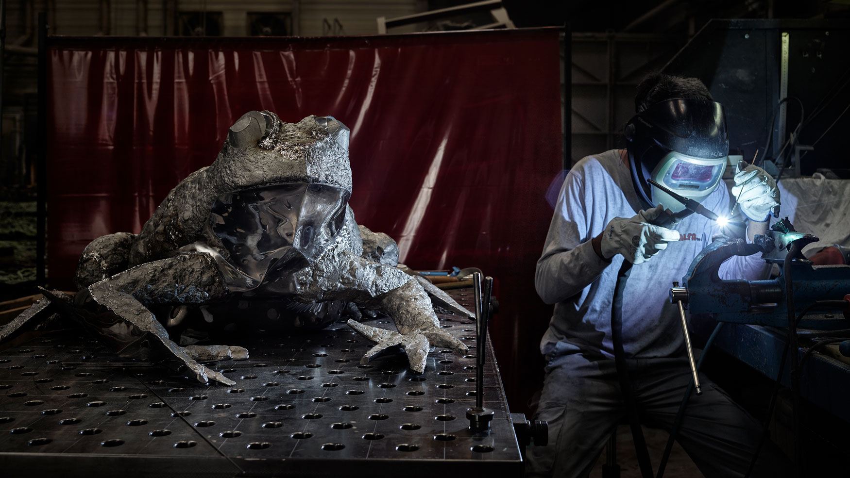 Katherine Taylor FROGS project, welding phase. Stainless steel. Alfa Arte
